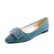 Damen Schuhe PU Herbst Komfort Outdoor Niedriger Heel Runde Zehe für Kleid Schwarz Blau Rosa