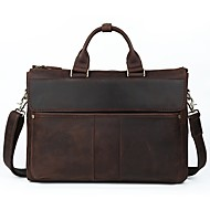 Men Bags Cowhide Briefcase Pockets for Formal Office & Career All Season Dark Brown