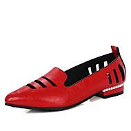 baratos Sapatos de Tamanho Pequeno-Mulheres Sapatos Materiais Customizados / Courino Primavera / Verão Inovador / Sapatos clube Rasos Sem Salto Dedo Apontado Mocassim Preto