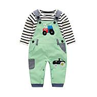 Dítě Chlapecké Bavlna Denní Proužky Tisk Jaro Podzim Sady oblečení,Dlouhé rukávy Roztomilý Trávová zelená