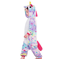 hesapli -Kigurumi Pijama uçan At / Unicorn Onesie Pijama Kostüm Flanel Gökküşağı / Mavi / Pembe Cosplay İçin Çocuklar için Hayvan Sleepwear