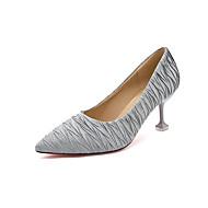 Feminino Sapatos Couro Ecológico Primavera Outono Solados com Luzes Chinelos e flip-flops Salto de bloco Dedo Aberto Pedrarias para Casual