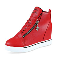 cheap Clearance-Women's Sneakers Comfort PU Outdoor Athletic Wedge Heel Zipper Lace-up Black Red White Walking