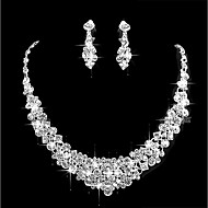 Dámské Kubický zirkon Šperky Set Jednoduchý Zahrnout Stříbrná Pro Svatební Párty