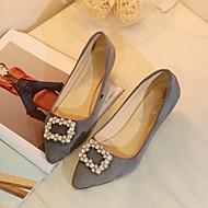 preiswerte -Damen Schuhe PU Sommer Komfort Flache Schuhe Niedriger Heel Spitze Zehe für Normal Kleid Schwarz Grau Rot