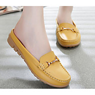 Women's Shoes Leather Spring Fall Comfort Loafers & Slip-Ons Walking Shoes Flat Heel Round Toe Rhinestone for Casual White Black Orange