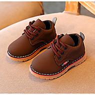 baratos Sapatos de Menino-Para Meninos Sapatos Couro Ecológico Inverno Conforto / Coturnos Botas Caminhada Cadarço para Preto / Amarelo / Khaki / Botas Curtas / Ankle