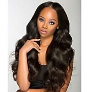 Kvinder Blondeparykker med menneskehår Brasiliansk Ekte hår Blonde Forside 130% tetthet Med babyhår Krop Bølge Bølget Parykk Jet Svart