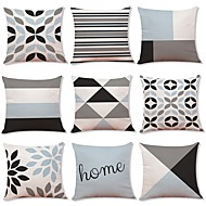 cheap Throw Pillows-9 pcs Linen Pillow Cover, Geometric Art Deco Plaid/Check