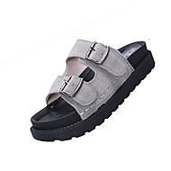 Dames Schoenen PU Zomer Comfortabel Lichtzolen Slippers & Flip-Flops Platte hak Open teen  voor Formeel Zwart Grijs Groen