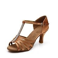 baratos Sapatilhas de Dança-Mulheres Sapatos de Dança Latina Cetim Salto Adorno Salto Personalizado Personalizável Sapatos de Dança Bronze / Interior / Couro