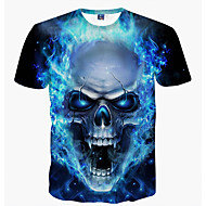 Tryck, Dödskalle Nattklubb T-shirt - Grundläggande Herr Rund hals Blå XXXL / Kortärmad / Sommar