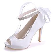 baratos Sapatos Femininos-Mulheres Sapatos Cetim Primavera / Verão Plataforma Básica Sapatos De Casamento Salto Agulha Peep Toe Cadarço de Borracha Azul / Rosa