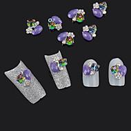 저렴한 -10pcs 3d 합금 큐브 보석 보라색 반짝이 라인 석 네일 아트 팁 장식