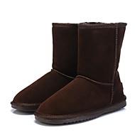 baratos Sapatos Femininos-Mulheres Sapatos Couro Inverno Conforto / Botas de Neve / Forro de fluff Botas Sem Salto Ponta Redonda / Dedo Fechado Cinzento / Café /