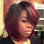 Συνθετικές Περούκες Ίσιο Κόκκινο Κούρεμα καρέ Κόκκινο Συνθετικά μαλλιά Γυναικεία Περούκα αφροαμερικανικό στυλ Κόκκινο Περούκα Κοντό Χωρίς κάλυμμα