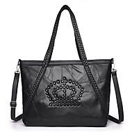 cheap Shoulder Bags-Unisex Bags Sheepskin Shoulder Bag Beading Zipper for Casual All Season Black