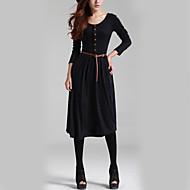 Feminino Bainha Vestido,Feriado Casual Vintage Moda de Rua Sólido Decote Redondo Médio Manga Comprida Poliéster Inverno Outono Cintura