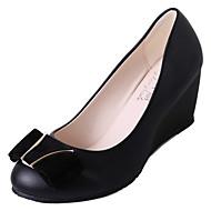 cheap Women's Heels-Women's Shoes PU Spring Comfort Heels Low Heel Round Toe for Casual Beige Black