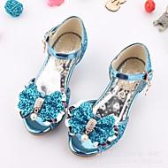 tanie Obuwie dziewczęce-Dla dziewczynek Obuwie Brokat Lato Comfort / Buty dla małych druhen Sandały na Silver / Niebieski / Różowy