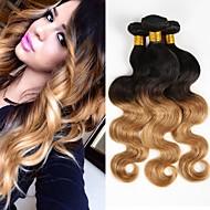 お買い得  人毛つけ毛-3個 ブラック/ストロベリーブロンド ウェーブ ブラジリアンヘア 人間の髪織り ヘアエクステンション 0.3kg