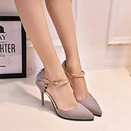 Mulheres Sapatos Pele Nobuck Primavera Outono Conforto Saltos Salto Agulha para Casual Preto Cinzento
