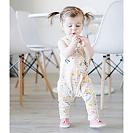 Baby Girls' Ordinary Casual / Daily Floral Sleeveless Cotton Overall & Jumpsuit White / Toddler