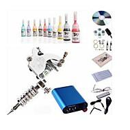 baratos Kits de Tatuagem para Iniciantes-BaseKey Máquina de tatuagem Conjunto de Principiante - 1 pcs máquinas de tatuagem com 10 x 5 ml tintas de tatuagem, Profissional Fonte de Alimentação mini 1xMáquina Tatuagem de aço para linhas e