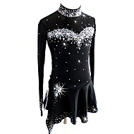 cheap -Figure Skating Dress Women's / Girls' Ice Skating Dress Black Spandex Competition Skating Wear Sequin Long Sleeve Figure Skating