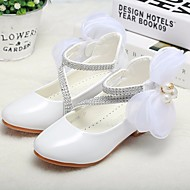 cheap Girls' Shoes-Girls' Shoes Patent Leather Spring Fall Tiny Heels for Teens Flower Girl Shoes Comfort Heels for Casual White Black Pink