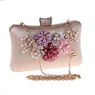 billige Designer Evening Bags-Dame Poser polyester Aftenveske Blomst Svart / Rød / Mandel