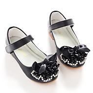 お買い得  フラワーガールシューズ-女の子 靴 レザーレット 春 秋 フラワーガールシューズ バレリーナ フラット リボン スパークリンググリッター 面ファスナー のために 結婚式 パーティー ブラック
