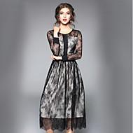女性用 ワーク ストリートファッション Aライン スウィング ドレス - レース, ソリッド ミディ