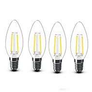 billige Stearinlyslamper med LED-4stk 2W 200lm E14 LED-lysestakepærer C35 2 LED perler COB Dekorativ Varm hvit 220-240V