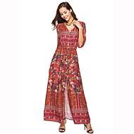 Mulheres Praia Boho Algodão Solto / balanço Vestido - Fenda, Floral Decote V Cintura Alta Longo