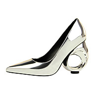 cheap Women's Heels-Women's Shoes Patent Leather Spring Summer Fashion Boots Novelty Comfort Heels Wedge for Party & Evening Gold Black Silver Champagne