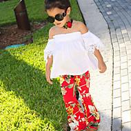 Dívčí Bavlna Jdeme ven Dovolená Květinový Léto Sady oblečení, Krátký rukáv Na běžné nošení Šik ven Rubínově červená