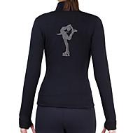 フィギュアスケート フリースジャケット 女性用 女の子 アイススケート ジャケット ブラック ブラックとシルバー 黒 + 銀 ランダム色 スパンデックス 練習 スケートウェア グラフィック スパンコール 長袖 アイススケート マルチスポーツ フィギュアスケート