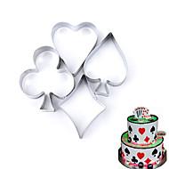 billige Kjeksverktøy-4 stk sett poker cookie mold rustfritt stål spillekort kake fondant mold kjeks cutter