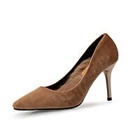baratos Sapatos Femininos-Mulheres Sapatos Flocagem Primavera / Outono Conforto Saltos Salto Agulha Preto / Verde / Amêndoa / Festas & Noite / Social