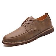 Homens sapatos Couro Primavera Outono Conforto Oxfords para Ao ar livre Preto Khaki