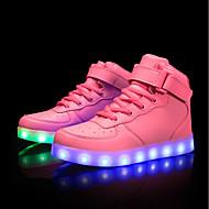 baratos Sapatos Femininos-Mulheres Sapatos Couro Ecológico Primavera / Outono Conforto / Tênis com LED Tênis Salto Baixo Branco / Preto / Rosa claro