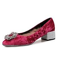 baratos Sapatos Femininos-Mulheres Sapatos Micofibra Sintética PU / Veludo Outono / Inverno Conforto Saltos Salto Robusto Gliter com Brilho Marron / Vinho / Amêndoa