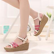 baratos Sapatos Femininos-Mulheres Sapatos Couro Ecológico Verão Conforto Sandálias Sem Salto Dedo Fechado Amarelo / Fúcsia / Azul / Calcanhares
