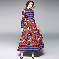 Bainha balanço Vestido,Diário Para Noite Moda de Rua Sofisticado Floral Estampado Estampa Colorida Colarinho de Camisa Médio Manga