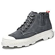sapatos Pele Inverno Forro de fluff Coturnos Conforto Botas Botas Curtas / Ankle para Casual Ao ar livre Preto Cinzento