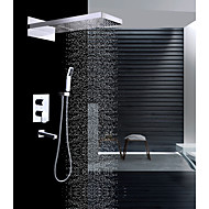 cheap Shower Faucets-Contemporary Wall Mounted Waterfall Rain Shower Handshower Included Ceramic Valve Two Handles Four Holes Chrome, Shower Faucet