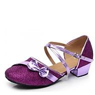 billige Moderne sko-Barns Dansesko Paljett / Elastisk sateng Sandaler Lav hæl Kan spesialtilpasses Dansesko Rød / Blå / Rosa
