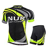 ieftine Nuckily®-Nuckily Bărbați Manșon scurt Jerseu Cycling cu Pantaloni Scurți - Verde Geometic Bicicletă Pantaloni scurți Jerseu Set de Îmbrăcăminte,
