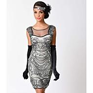 Gatsby 1920-te Kostim Žene Haljina s flapperom Crn Bež Vintage Cosplay Polyster Kratkih rukava Kapa